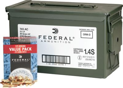 Stock up now for high-volume shooting with 2,100 rounds of .22 long rifle ammunition from Federal. Ideal for small-game shooters, the 36-grain copper-plated hollow point bullet with a muzzle velocity of 1,260 fps provides reliable performance and accuracy. Includes a mil-spec metal ammo can (a $20 value) for storage, organization and transportation to the range. Per 2,100. Made in USA. - $92.99