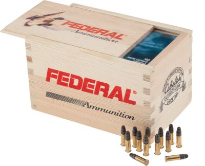 Hunting Get a Cabelas-exclusive wood box full of Federal Champion .22 LR ammo. Great for plinking or hunting, each 40-gr. lead round-nosed round is loaded to precise standards for reliable feeding and accuracy. The limited-edition wood box makes a great decoration long after the rounds are shot. Velocity: 1240 FPS. 500 rounds. - $28.99