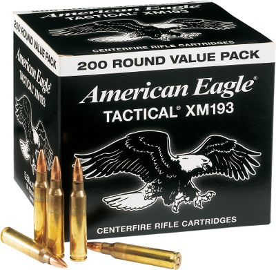 Hunting American Eagle Tactical Ammunition is loaded to military specifications with Lake City brass for reliable functioning and consistent accuracy. This 55-grain FMJ ball ammunition offers high-volume shooters an affordable and dependable option for semiauto firearms. Made in USA. Available:200 rounds of 5.56mm NATO with one storage box 400 rounds of 5.56mm NATO with one storage box 800 rounds of 5.56mm NATO with one storage box - $84.99