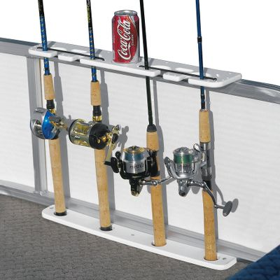 Fishing Rods will stay neatly stowed and ready for action when your pontoon boat is outfitted with one or more of these rugged poly rod holders. Top piece mounts to your rail and bottom mounts directly to the floor. Four-Rod model has slots for pliers and a knife. Available: 4-Rod Holder. - $55.99