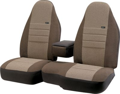 Customize your truck, van or SUV with the factory look of these Front Seat Covers. The Super-Grip attachment system uses belt-and-buckle fasteners, zippers and Velcro to rigidly hold the outer shell in place. Multi-directional stretch trim molds to the contours of the seat. And the polyolefin tweed and polyester construction is durable, flame and abrasion-resistant, washable and colorfast. It's also the same material used for the original seats of most vehicles. These covers also have foam-padded back-support areas and custom seat-belt openings. - $69.88