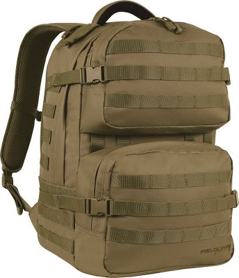 Camp and Hike Carry your gear in a field-grade tactical pack built for the demands of the battlefield. Extra-large main compartment with zippered mesh pockets stores essentials. Front panel with multiple MOLLE attachment points adds versatility. Yoked shoulder strap system with adjustable sternum slider ensures comfortable all-day carry. Adjust the side compression straps to balance packed gear. 2-liter hydration-compatible pouch with left and right Velcro closures. Fleece-lined sunglasses pouch. Heavy-duty padded handle for easy carry. Imported. Dimensions: 19H x 12W x 7.5D. Capacity: 1,710 cu. in. Colors: Coyote, Black (not shown). Color: Black. Gender: Unisex. - $59.99
