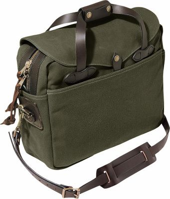 "Camp and Hike Legendary Filson quality updated for modern technology, this briefcase is made to meet the demands of todays professional. Water-repellent oil-finish cotton fabric is double-layered on the bottom to provide a lifetime of performance. Bridle leather shoulder strap and handles are durable and timeless. Interior pockets hold a laptop, cell phone and other daily essentials. Four exterior pockets provide quick access to important items. A storm flap covers the tough, two-way zipper, keeping contents dry. Interior clip secures your keys. Constructed of 22-oz. cotton twill. Made in USA.Dimensions: 16L x 6W x 12.5H.Colors: Tan, Otter Green. 0011588Cabelas1110214.0 Normal0falsefalsefalseEN-USJAX-NONE /* Style Definitions */table.MsoNormalTable{mso-style-name:""Table Normal"";mso-tstyle-rowband-size:0;mso-tstyle-colband-size:0;mso-style-noshow:yes;mso-style-priority:99;mso-style-parent:"";mso-padding-alt:0in 5.4pt 0in 5.4pt;mso-para-margin:0in;mso-para-margin-bottom:.0001pt;mso-pagination:widow-orphan;font-size:12.0pt;font-family:Cambria;mso-ascii-font-family:Cambria;mso-ascii-theme-font:minor-latin;mso-hansi-font-family:Cambria;mso-hansi-theme-font:minor-latin;} Type: Luggage. Size Large. Color Tan. - $300.00"