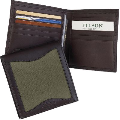 Entertainment Filsons legendary reputation for timeless style and uncompromising quality appeals to any outdoorsman who wants to own the very best. The Packer Wallet has 12 card slots, one security pocket on each interior side and two full-width currency slots. Made in USA. Dimensions: 4-1/4L x 4-1/2W.Colors: Otter Green, Tan. - $105.00