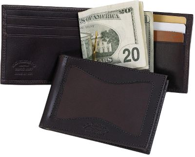 Entertainment Filsons legendary reputation for timeless style and uncompromising quality appeals to any outdoorsman who wants to own the very best. Money-Clip Wallet has a quick-access, hinged brass clip that secures bills. Six card pockets hold credit cards. Made in USA. Dimensions: 3-1/2L x 3W. Size: 3. Gender: Male. Age Group: Adult. Pattern: Twill. Material: Leather. Type: Wallets. - $85.00