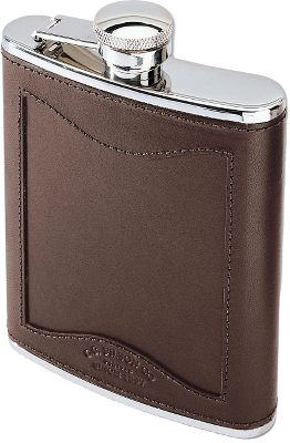 Filsons legendary reputation for timeless style and uncompromising quality appeals to any outdoorsman who wants to own the very best. Elegant, durable flask has tight bridle leather/stainless steel design for long-lasting protection. Easy-open screw top secured with a hinged keeper. 6 fl. oz. Made in USA. Dimensions: 3-3/4W x 5-1/8H. Color: Stainless. Type: Flasks. - $70.00