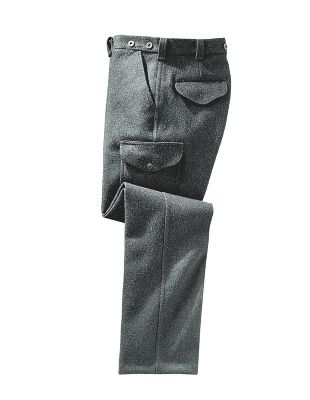 "Hunting The Mackinaw Field Pants feature 24-oz. Mackinaw cloth. Six-pocket construction, two button-flap side cargo pockets, two slash side pockets, and one rear flap pocket with button flap and one rear pocket with just flap. Inseam 35"" unfinished. Will hem to 33-1/2"" maximum at no charge, no cuffs. Made in USA.Even waist sizes: 28-42.Colors: Charcoal, Forest. - $220.00"