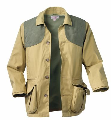 Hunting True to Filsons legendary reputation for uncompromising quality, this jacket appeals to outdoorsmen who demand the very best from their clothing. The fit and features ensure enhanced freedom of movement when turning, lifting and aiming. Comfortable in a wide range of temperatures, the rugged wind- and water-resistant Tin Cloth stands up to years of field wear. Double bellows pockets with secure zipper pocket above and small interior flap to protect gear; handwarmer pockets behind bellows pockets. Rear map pocket. Moleskin shooting patches. Inside button cuff. Machine washable. Made in USA and imported.Sizes: S-3XL.Color: Dark Tan. - $385.00