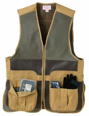 Hunting True to Filsons legendary reputation for uncompromising quality, this vest appeals to shooters who demand the very best from their clothing. Highlights include front bellows pockets with elasticized shell holders and snap-flap closure, two rear pockets for spent shells, and soft moleskin shooting patches on both shoulders. Cooling mesh ensures breathable comfort. Triple-adjustable snap tabs on the back. Rear hanging loop. Machine washable. Made in USA and Imported. Sizes: S-3XL.Color: Dark Tan. Type: Vests. Size: Medium. Camo Pattern: DARK TAN. Size Medium. Color Dark Tan. - $220.00