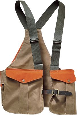 Hunting This vest is designed to handle rain, wind and heavy brush. Made with Filson's durable cotton Tin Cloth, you can clean this vest by brushing or wiping it. Vest has large bellows front pockets with dividers that allow you to separate spent shells from live shells, and the rear game bag is easy to reach. It also has adjustable 2 shoulder straps. Made in USA.Sizes: SL, XL3XL.Colors: Blaze Orange, Tan. Type: Strap Vests. Size: X-Large/3 X-Large. Camo Pattern: Blaze Orange. Size Xlarge/3xlarge. Color Blaze Orange. - $110.00