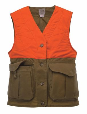 Hunting Filson brings superior functionality and durability together to create this highly visible hunting vest. Constructed of wind-cutting 8.5-oz. oil-finish shelter cloth for water-resistant protection. For safety, 7.5-oz. blaze orange acrylic fabric makes the vest visible in heavy brush. Six shell loops in each traditional Filson bellows pocket with concealed snap-tab closures. Adjustable back-snap tabs for a streamlined fit. Action back for increased freedom of movement. Rear-loading game bag. Four-button front closure. Zippered interior security pocket. Made in USA.Sizes: XS-XL.Color: Tan/Blaze. - $185.00
