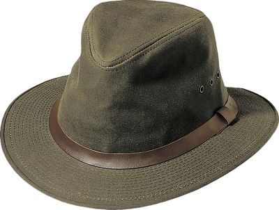 Made of midweight-cotton shelter cloth, this packer hat features a water-repellent oil-finish treatment and outer leather hatband that gives it long-lasting durability. A 2-1/4 brim keeps the sun off your ears and out of your eyes, and an inner cotton sweatband is soft against your skin. Eight grommets provide ventilation. Made in USA.Sizes: S-2XL. Colors: Otter Green. Type: Hats. Size: 2 X-Large. Color: Otter Green. Size 2xl. Color Otter Green. - $55.00
