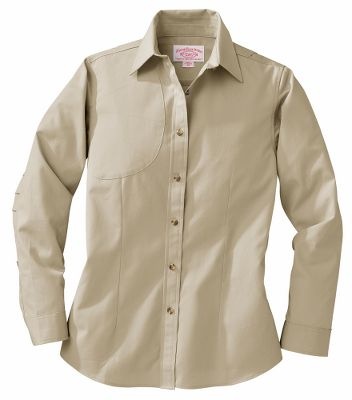 Hunting Functionality, durability and a true feminine profile can be found in every fabric of this one-of-a-kind Womens Field Shirt. Made of Filsons own, 100% cotton Cover Cloth proven to resist stains and endure a lifetime of abuse. A full-action back, large underarm gussets and three-pleat articulated elbows provide ample room for maximum range of motion. Adjustable button cuffs and a shooting patch on the right shoulder add a nice touch of style. Machine washable. Imported. Sizes: S-XL. Color: Desert Tan. - $90.00