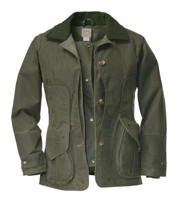 Hunting Prized by hunters for its legendary durability, worn-in comfort and classic look, Filsons popular Upland Jacket has now been tailored for women. Its time-tested, water-repellent Shelter Cloth exterior is lined with a dry finish for double the protection. Supple, soft moleskin lines the collar, while the front-loading game bag is lined with bloodproof-coated nylon, protecting you and your game. The length is conveniently cut to fit over upland bibs. Additional features include: a right-shoulder shooting pad, two front bellows pockets with snap closures, one interior zippered security pocket and snap-adjustable knit cuffs. Wipe or brush clean only. Made in USA and imported. Sizes: XS-XL. Colors: Otter Green, Tan. Type: Jackets. Size: X-Large. Camo Pattern: TAN. Size Xl. Color Otter Green. - $310.00