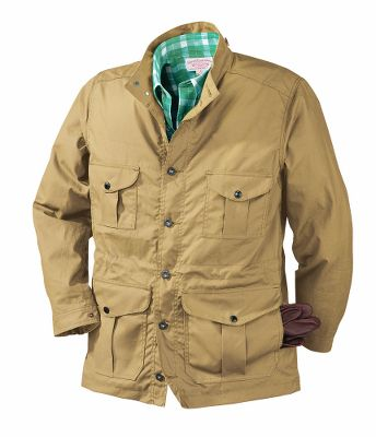 Guns and Military Stay warm in a wide range of temperatures with this versatile jacket. The oil-finish Cover Cloth is lightweight and water-repellent, keeping you dry and comfortable in adverse weather. Adjustable cuffs and a waist drawcord ward off wind and moisture, while grommets at the lower armholes provide ventilation. Exterior pockets store essentials, and two interior pockets keep valuables close. Oregon Trail Jacket Hood (not included) is easily attached or removed depending on weather conditions. 6-oz. cotton shell; 65/35 polyester/cotton lining. Made in USA.Centerback Length: 31-1/2.Sizes: S-2XL.Colors: Tan, Navy. - $385.00