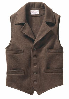 Stay warm and stylish with this classic wool vest. The five-button front and notched lapel seal out the cold in traditional Western fashion. Four welt pockets provide ample room for accessories. 100% 24-oz. virgin mackinaw wool. Made in USA. Sizes: S-2XL. Colors: Charcoal, Brown, Forest Green. Size: SMALL. Color: Forest Green. Gender: Male. Age Group: Adult. Material: Wool. - $165.00