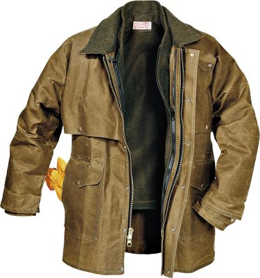 Ranches, construction sites, deep woods, these are not places for an average, mediocre coat. So it should come as no surprise the Mens Packer coat by Filson is chosen by so many who face rugged conditions day in and day out. Its 100% cotton oil-finish tin cloth stands up to wind, rain and time like no other fabric. And a 100% mackinaw wool collar is there for extra warmth and broken-in comfort. The one-piece cape covering the shoulders and arms provides a double layer of protection youll appreciate in thick brush or nasty weather. Additionally, there are four roomy outside pockets plus pencil slots, two handwarmer pockets, an inside pocket, and a small back gusset for comfort when riding. Heavy two-way brass zipper closure with a snap storm flap. Adjustable cuffs and a tab-closure neck. Accepts a zip-in vest liner (not included). Wipe or brush clean only. Made in USA. Center back length: 33. Sizes: S-3XL. Color: Tan. Size: XL. Color: Tan. Gender: Male. Age Group: Adult. Material: Cotton. - $360.00