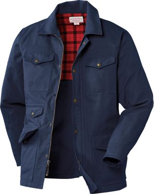 Guns and Military With a broken-in feel the first time you wear it, the Filson Barn Coat is ideal for work or play. Heavyweight 12.3-oz. cotton Tin Cloth construction provides protection for tough jobs. Microsanded and garment-washed for softness. Handwarmer pockets for extra comfort on chilly days. Zippered front with button-snap storm flap keeps the weather out. Interior-back cotton plaid lining. Cuffs can be turned up or snap closed. Two Inner pockets. Machine washable. Imported.Sizes: S-2XL.Colors: Dark Tan, Navy. - $250.00