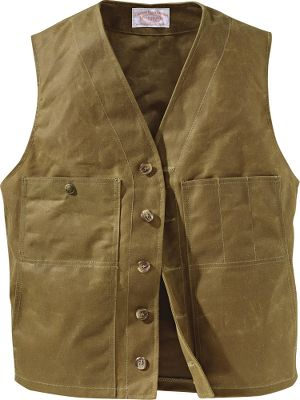 Built for the outdoors, this special edition unites the classic Mens Mackinaw Vest design with legendary Filson 12.5-oz. cotton, oil-finish Tin Cloth. Handwarmer pockets deliver extra comfort on chilly days. Three left chest slot pockets hold pens or tools. Right chest pocket with snap closure. Five-button front closure. Wipe or brush clean only. Made in USA. Even sizes: 38-54. Color: Dark Tan. Size: 50. Color: Dark Tan. Gender: Male. Age Group: Adult. Material: Cotton. Type: Vests. - $120.00