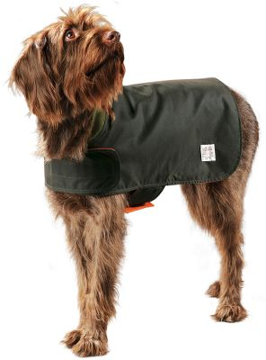 Entertainment Filson has brought you a lighter, all-season dog coat appropriate for field use or walks. The reversible coat features an Otter Green oil finish shelter cloth on one side that repels water and wind. The other side boasts a high-visibility blaze orange acrylic Ten Mile Cloth thats great for the field. The soft moleskin collar is comfortable for your dog, and two wide Velcro closures make for easy and quick on and off. To ensure the best fit for your dog, measure from the base of the neck to the base of the tail to determine the correct size. Made in USA.Sizes: S(13), M(17), L(21). - $50.00