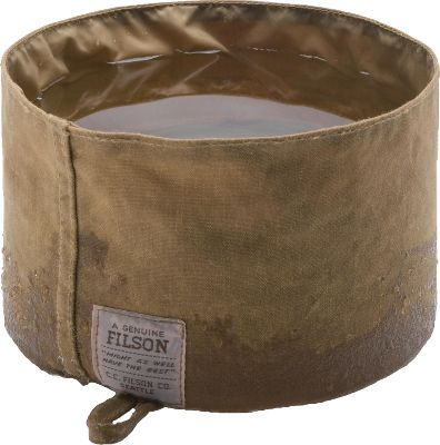 Hunting Dont chance your pups well-being on an inferior water bowl. Filsons legendary oil-finish Tin Cloth is nearly indestructible, ensuring flawless performance in the field. The tough nylon lining provides a waterproof layer that stands up to abuse. Bowl folds up for easy storage and comes with an attached hanger loop. Manufacturers unconditional lifetime guarantee. Constructed of 12.5-oz Tin Cloth cotton with nylon lining. Made in USA. Type: Dog Bowls. - $38.00