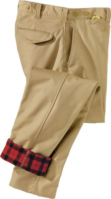 Be prepared for any weather condition with these durable pants. The legendary Tin Cloth pants feature an Alaskan Guide flannel lining for superior comfort and warmth. A watch pocket keeps valuables close, while two front and rear pockets store other essentials. Tapered legs are unhemmed to provide a custom fit. Belt loops accommodate belts up to 1.5 wide, and heavy-duty buttons hold suspenders in place. Brass zipper fly with snap closure at waist. 11-oz. 100% cotton dry-finish Tin Cloth with 7-oz. 100% cotton flannel lining. FREE hemming up to 36. Made in USA.Even waist sizes: 28-42.Color: Desert Tan. - $198.00