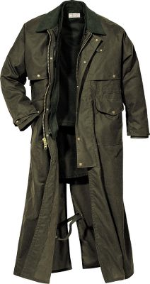 This traditional duster offers superior protection with a classic style. A one-piece cape with rear gusset provides optimum mobility, while leg straps ensure you stay covered. Oil-finish Shelter Cloth repels water and stands up to the harshest conditions. Four front pockets, two handwarmer pockets, an interior pocket and four pencil slots provide plenty of storage space. The two-way brass zipper has a wind guard, and the collar snaps closed to keep out nasty weather. Jacket is zip-in compatible with Filson vest liners. Adjustable wrists. 8.5-oz. 100% cotton Shelter Cloth with 12-oz. cotton moleskin collar. Made in USA. Sizes: S-2XL. Color: Otter Green. Size: XL. Color: Otter Green. Gender: Male. Age Group: Adult. Material: Cotton. - $435.00