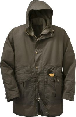 Made of 100% cotton oil-finished cover cloth, the traditional exterior of this wind-resistant, water-repellent coat equips you for all kinds of wet weather. Its 4-oz. 100% cotton lining delivers comfortable warmth. The 100% cotton moleskin collar and handwarmer pockets add touches of softness where it counts. The seamless upper torso and sleeves, cut-away side hood with drawcord, storm flap and snap-close storm cuffs add even more protection from the elements. Two bellows-style, snap-close flap pockets and an inner zip-secure pocket make room for necessities. Brass front zipper. Accepts Filson zip-in vest liners. Made in USA. Center back length: 35. Sizes: M-2XL. Color: Otter Green. - $370.00
