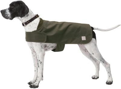 Hunting With a classic red-and-black plaid Mackinaw wool lining and a double layer of moleskin at the neck, this shelter cloth is a soft and comfortable shell for your dog. The oil finish provides maximum water repellency, and oversized Velcro closures at the neck and chest provide a wide range of size adjustment. To ensure the best fit for your dog, measure from the base of the neck to the base of the tail to determine the correct size. Made in USA.Sizes: S(13), M(17), L(21).Color: Otter Green. Type: Dog Clothes. Size Small. - $75.00