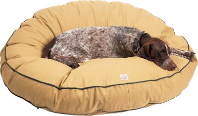 "Hunting Created by Filson to be long-lasting and durable, this dog bed is made of antique-style tin cloth thats microsanded then washed for a comfortable, broken-in feeling thats still Filson-tough. The cover zips off for machine washing; dry flat. Inner cotton pillow with 100% polyester fill. Made in USA. Sizes: 36 diameter, 50 diameter. Type: Dog Beds. Type: Dog Beds. Dog Size: Large (51-90 lbs.). Dog Bed Mattress Type: Polyester Fill. Dog Bed Shape: Round/Oval. Size 36"" Diameter. - $205.00"