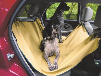 Hunting Reward your hard-working dog with a comfortable ride to and from the field. This sling provides a soft, cozy place for your dog to sit, while keeping hair and dirt off your car's seats. Reinforced webbing straps are attached to headrests to fully protect the car's interior. 100% 12.3-oz. antique Tin Cloth cotton. Made in USA. Dimensions: 54L x 56W.Color: Dark Tan. - $108.00