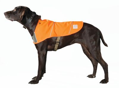 Hunting Increase the visibility of your hunting dog with this ultradurable safety vest. It features Ten Mile acrylic cloth with reflective piping, and the front body sports 100% cotton, oil-finished Shelter cloth for increased protection. Nylon webbing with plastic buckles for a custom fit. Body zipper for easy on and off. Made in USA.Sizes: S-XL.Color: Blaze Orange. - $65.00