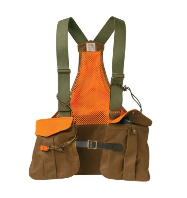 Hunting Take legendary Filson quality on your next upland hunt. Enjoy unrestricted freedom of movement while keeping your hunting essentials handy with this 12.5-oz. cotton, oil-finish Tin Cloth hunting vest. The polyester mesh back is breathable when worn alone on warm-weather hunts, or wear it over a jacket for extra storage. Large rear-entry game bag. Two front bellows pockets snap close with one hand. Two mesh side pockets are ideal for water bottles. Front leather strap with brass buckle closure. Wipe or brush clean only. Made in USA. Sizes: Regular, Super. Colors: Tan(not shown), Tan/Blaze Orange. Size: SUPER. Color: Tan. Gender: Male. Age Group: Adult. Material: Polyester. Type: Vests. - $110.00