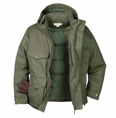 Upgrade your current jacket to the Portage Bay and experience the difference Filson quality can make. Its solid performance begins with the waterproof, fully seam-sealed, two-layer twill shell made of an 86/14 polyester/wool blend. Toasty warmth is created through a 150-gram microfiber polyester fill in the body and collar with a 100-gram microfiber polyester fill in the sleeves. The adjustable hood easily zips on and off. Additional functionality includes: two zippered handwarmer pockets, two chest cargo pockets, a left-chest zippered pocket, two lower cargo pockets and two inside zippered pockets. Adjustable snap tabs on the sleeves. Snap storm flap over front zipper. Machine washable. Imported.Average back length: 31. Sizes: S-2XL.Color: Dark Tan, Otter Green. - $375.00