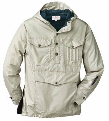 Legendary Filson quality and durability in a lightweight, compact package. Entire jacket packs into the lower pocket for easy transportation during outdoor activities. The lightweight Field Cloth repels rain and snow, while the 65/35 polyester/cotton lining provides warmth. Two chest pockets, a handwarmer pocket and a left-sleeve zipper pocket store essentials, and a right-side, zippered gusset allows for easy on and off. Attached hood, hem drawcord and adjustable cuffs keep out wind and moisture. 100% cotton Field Cloth shell. Made in USA.Sizes: S-2XL.Colors: Stone, Otter Green. - $238.00