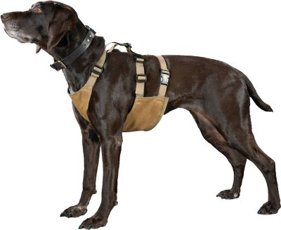 Hunting Its double-layer, 100% cotton, oil finish, 12.3-oz. tin cloth protects your hunting dog from the roughest field conditions. Cross-fit nylon webbing and plastic buckles provide a custom fit. Made in USA.Sizes: M-XL. Type: Dog Vests. Size Large. - $56.00