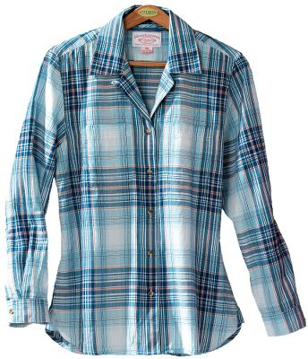 Filsons stylish Indigo plaid shirt is both comfortable and breathable enough for wear by itself or layered under a jacket. Contoured seams and a back yoke provide a flattering fit. Two front patch pockets. 3-oz. 100% cotton. Imported.Center back length for size Medium: 28.Sizes: S-XL.Color: Blue Multi. - $80.00