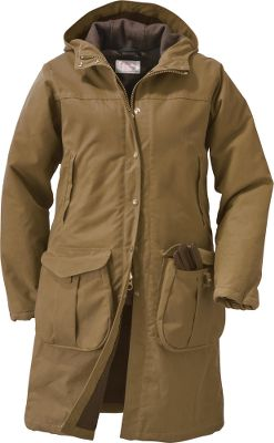Long enough to offer substantial coverage with an attached hood so youll feel warm and protected in Filsons water-repellent, wind-resistant Shelter Cloth Parka. The front zipper closure keeps even more cold and wind out with brass snaps and a storm flap. Lower bellows pockets with one-handed loop openers hold plenty of important items, and upper handwarmer pockets have flap openings for ease of use. Two lower vented slits give you freedom of movement. Wipe or brush clean. Made of 8.5-oz. 100% cotton oil-finish Shelter Cloth with insulated nylon sleeves. 100% Mackinaw wool lining throughout. Made in USA.Center back length for size Medium: 38.Sizes: XS-XL.Color: Tan. - $350.00