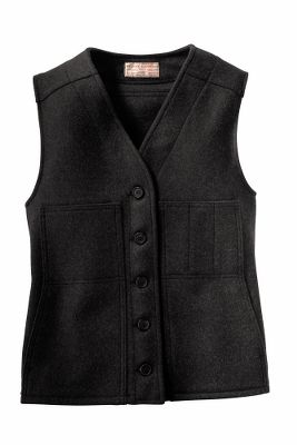 Add an extra layer of warmth and traditional style to your cold-weather outfits. True to its heritage, Filson crafted this heirloom-quality vest with the same uncompromising attention to detail long synonymous with the name. Details include easy-fit button closure, two front pockets and adjustable back waist tabs for a custom fit. 26-oz. 100% virgin Mackinaw wool. Made in USA.Center back length for size Medium: 24.Sizes: XS-XL. Colors: Black, Charcoal, Grey, Brown, Red/Black. - $115.00