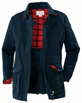 Guns and Military Whether haying horses in the barn or riding one in the pasture, this coat is essential equipment for life in the country. Designed to shrug off the cold and built to last for years, the coats rugged shell is crafted of Filson's original, water-resistant, 12.3-oz. Antique Tin Cloth. The lining, under collar and inside cuffs boast a soft and warm 3-oz. plaid fabric that offers a striking contrast to the coats exterior. Raglan sleeves create easy mobility in the arms. Side handwarmer pockets keep hands toasty in cold weather. Generous bellows pockets secure your on-hand necessities. 100% cotton. Imported. Center back length for size Medium: 28.Sizes: XS-XL. Colors: Dark Tan, Navy. - $215.00
