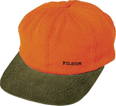 Hunting Top off your next hunting excursion with this highly visible, water-repellent cap from Filson. It features a blaze orange crown made of 100% Acrylic Ten Mile cloth and an Otter Green bill made of oil-finished cotton shelter cloth. Adjustable leather strap in back for custom fitting. Built-in cotton sweatband. Wipe or brush clean only. One size fits most. Made in USA.Color: Blaze Orange/Otter Green. Type: Caps. Size: One Size Fits Most. Camo Pattern: Blaze Orange. Size One Size Fits Most. Color Blaze Orange. - $38.00