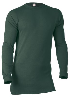 Hunting Take on the cold with this soft, warm top. The 12.5-oz. virgin merino wool wicks moisture and neutralizes odor, making it ideal for layering. A loosely contoured fit provides mobility without bunching up under your jacket. The extra-long cut stays tucked in, while knit cuffs prevent the sleeves from riding up. Imported.Sizes: S-2XL.Colors: Navy, Green. Type: Base Layer Tops. Size: Small. Camo Pattern: GREEN. Size Small. Color Green. - $105.00