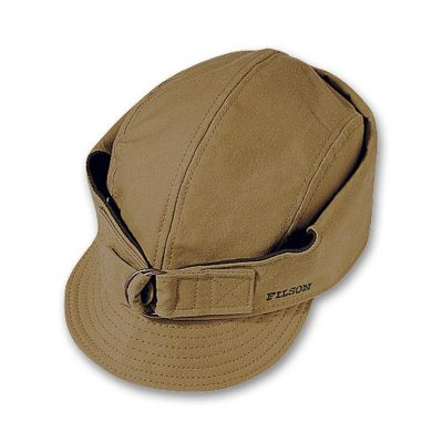 Entertainment Filson delivers the ultimate protection from the elements with this heavy, 12.5-oz. Tin Cloth hat. Lined with warm 24-oz. virgin Mackinaw wool, this wind- and water-resistant hat is ready for winters blustery days. Wear it three ways up, part way down when the weather starts to turn or all the way down for maximum protection in extreme conditions. Four grommets provide ventilation. Cotton sweatband. Wipe or brush clean only. Made in USA.Sizes: S-2XL.Color: Tan. Type: Caps. Size: Small. Camo Pattern: TAN. Size Small. Color Tan. - $70.00