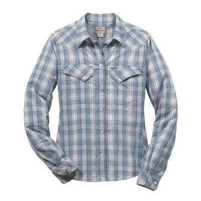 An open range, a big sky and the classic Western shirt some things never go out style. Filsons version features double patch chest pockets with flap and pearl snap closure; bias-cut plaid on yoke, pocket flaps, side panel and cuffs; and contoured seams on front and back for a flattering fit. 3.5 oz. 100% cotton. Imported.Center back length for size Medium: 25.Sizes: S-XL. Colors: Blue Plaid, Rose Plaid. - $85.00