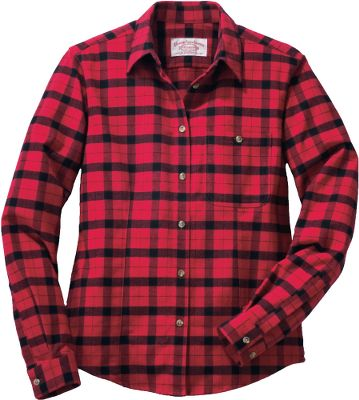 Few things are more iconic to the outdoor lifestyle than a tried-and-true flannel shirt. Fewer still are flannel shirts that match the craftsmanship and attention to detail of the Alaskan Guide Shirt by Filson. It all starts with the got-to-feel-it-to-believe-it 7-oz. cotton flannel. It has solid wind resistance, plenty of warmth and your-favorite-blanket level of softness. Front darts and back seaming provide a near-custom fit. And back-action pleats open up a full range of motion a nice touch for active outdoor enthusiasts. Front chest pocket. Straight collar. Machine washable. Imported.Center back length for size Medium: 28.Sizes: S-XL.Colors: Cream/Black, Red/Black. - $75.00