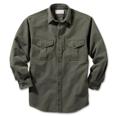 Destined to become a favorite, this tough cotton canvas button-up is microsanded and washed for a broken-in feel the first time you wear it. Two expandable button-flap chest pockets hold small items. Double-button cuffs. Distinctive Filson 1897 buttons. Machine washable. Imported.Sizes: S-3XL.Colors: Otter Green, Slate. - $110.00