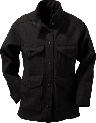 For premium warmth, superior softness and a traditional outdoor look, the Filson Womens Timber Jacket is crafted of 24-oz. 100% virgin Mackinaw wool. Snap-secure front closure and cuffs lock in warmth. The snap-close, asymmetrical collar keeps wind off your neck. Adjustable back tabs secure a closer fit when needed. Made in USA.Center back length for size Medium: 28.5. Sizes: XS-XL. Colors: Black, Charcoal, Brown, Forest Green. - $250.00