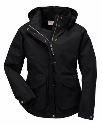 Designed for the grueling, wet weather of the Northwest, this jacket is made with waterproof fabrics and fully sealed seams. Contoured styling provides a comfortable, feminine fit. Zip-in hood can be removed on sunny days to eliminate excess bulk. Double front pockets with one-hand snap tabs and an interior pocket store essentials, while two zippered handwarmer pockets provide shelter from the elements. Adjustable snap cuffs, hem drawcord and back waist drawcord for a custom fit that keeps out wind and moisture. Mesh-lined interior. 8-oz. 86/14 polyester/wool twill construction. Imported.Center back length for size Medium: 28.25.Sizes: XS-XL.Colors: Black, Dark Tan, Otter Green. - $350.00