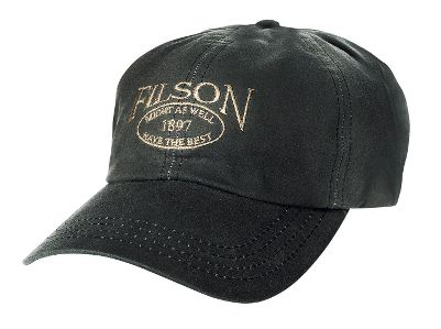 Hunting Classic, six-panel Cover Cloth construction is ideal for everyday wear. Water-repellent, 6-oz. oil-finish cotton. Adjustable leather strap. Cotton sweatband. Embroidered Filson logo. Made in USA.Sizes: M, L.Color: Otter Green. - $30.00