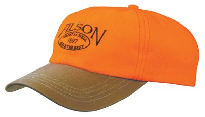 Hunting Wear the embroidered Filson logo with pride and the highly visible orange for safety in the field. The oil-finished Tin Cloth bill crafted of 12.5-oz. cotton repels water during wet-weather hunts. The six-panel, 100% acrylic crown boasts a cotton sweatband for moisture management on hot days. Adjustable leather strap ensures a customizable and comfortable fit. Made in USA. Sizes: M-L. Color: Blaze Orange. - $35.00